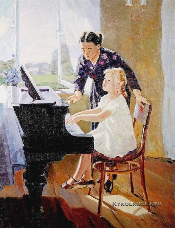 Наседкин Анатолий Леонидович (1924-1994) «Урок музыки» 1970.jpg.jpg