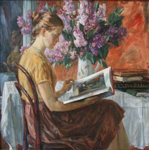 Леднёв Валерий Александрович (1940) «Девушка с книгой» 1986.jpg