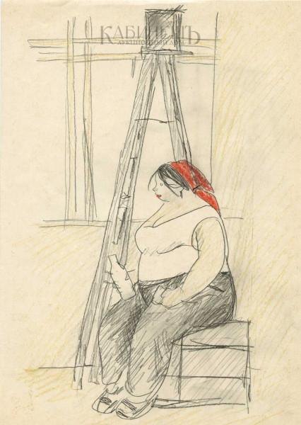 Сойфертис Леонид Владимирович (1911-1996) «Обеденный перерыв» рисунок из цикла «На стройке» 1960-е.jpeg