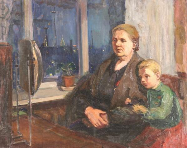 Гиппиус Наталия Александровна (1905–1995)«С бабушкой у телевизора» 1950-е гг..jpg