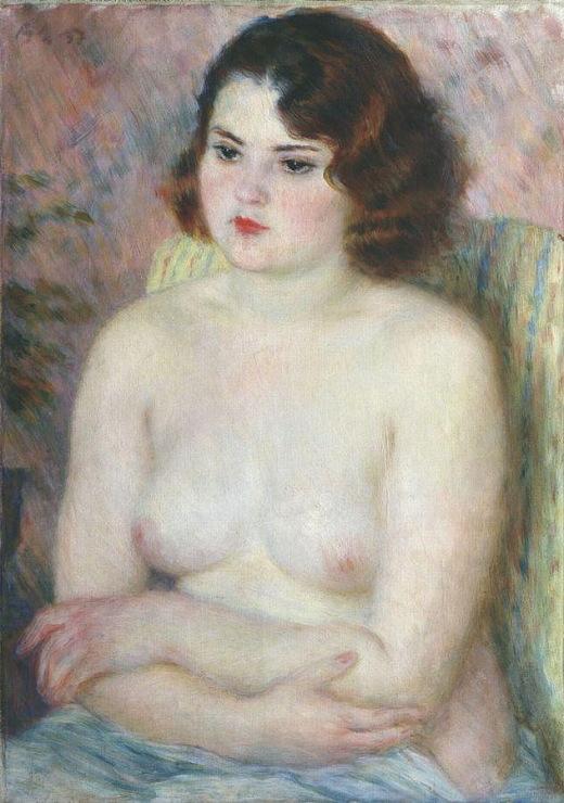 Обнаженная со скрещенными перед грудью руками. 1937.