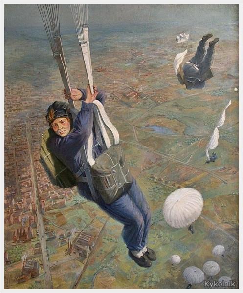 Прошкин Виктор Николаевич (Россия, 1906-1983) Парашютисты, 1937 height=600