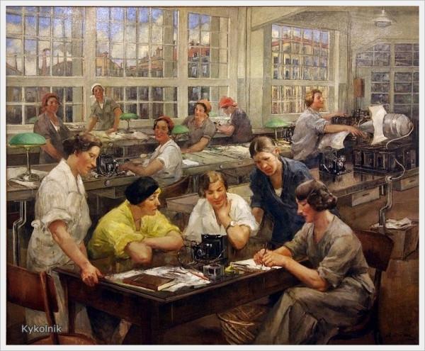 Тихов Виталий Гаврилович (Россия, 1876 - 1939) «Стахановки завода им. ОГПУ» height=495