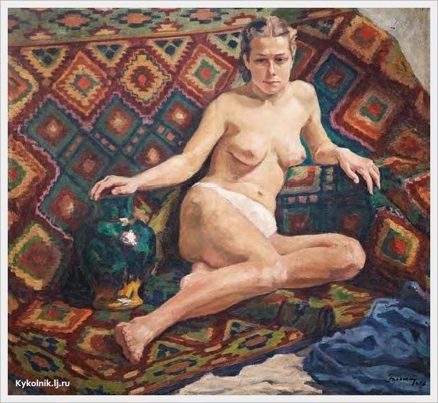Бокшай Иосиф Иосифович (Украина, 1891 – 1975) «Девушка на фоне закарпатского ковра» 1958