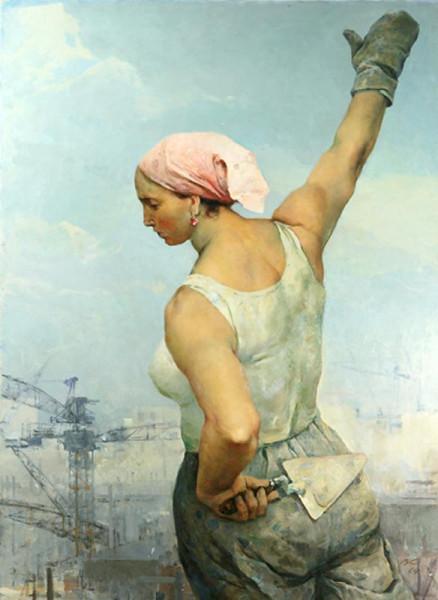 Серов В. А. (1910-1968) «Строительница». 1964