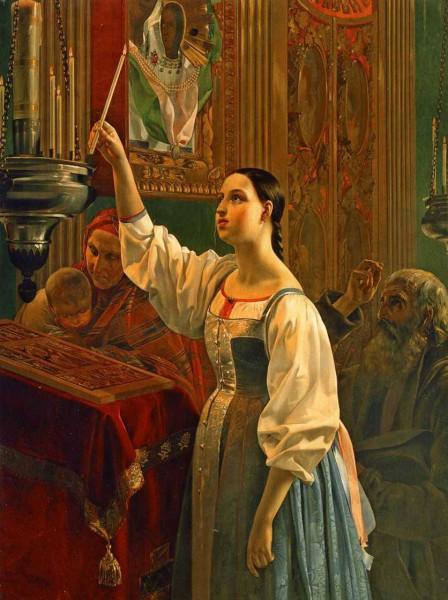Григорий Михайлов Девушка, ставящая свечу перед образом 1830-е