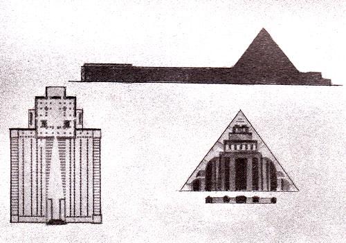 В. Красильников. Крематории. Kypcoвой проект. МИГИ. 1923. Фасад, перспектива, план, разрезы, фрагменты