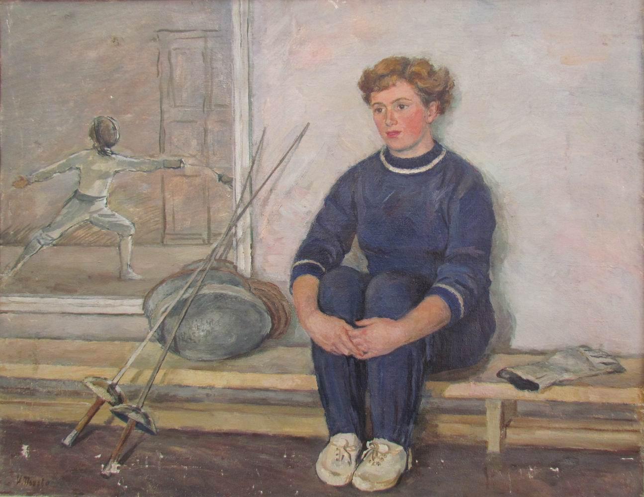 Попова И.Н. Фехтовальщица, заслуженный мастер спорта Ягодина. 1955