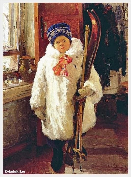 Бурак Александр Филиппович (Россия, 1921-1997) «Юная лыжница» 1953