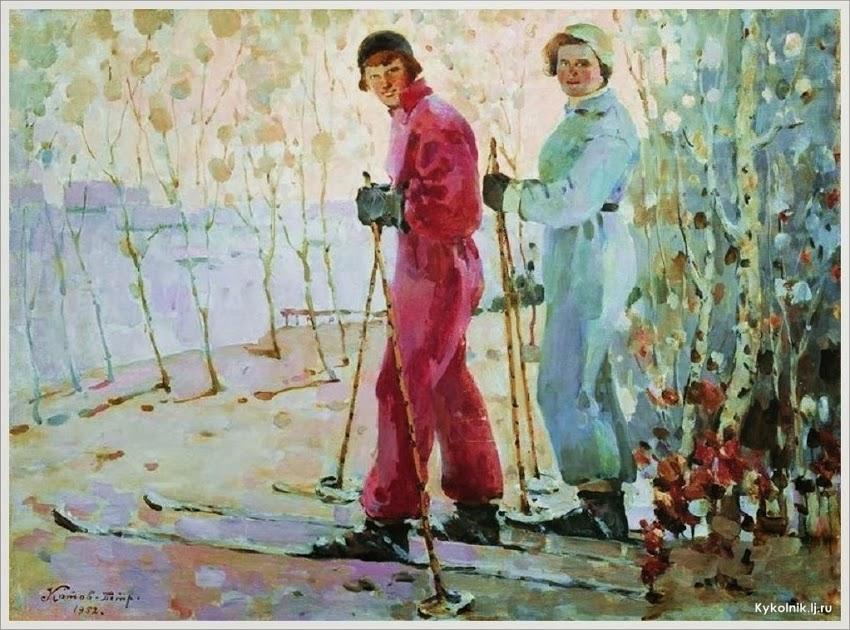 Котов Петр Иванович (Россия, 1889-1953) «Лыжницы» 1952