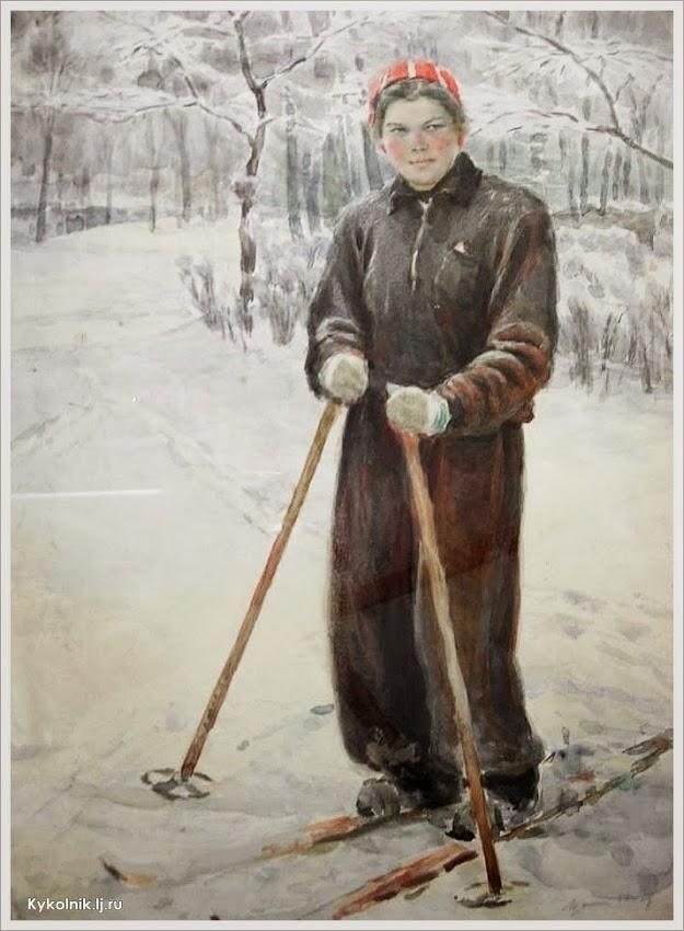 Шанин Марат Семенович (Россия, 1928) «Лыжник» 1955