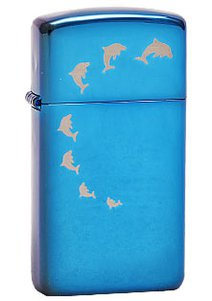 Зажигалка ZIPPO Dolphins, латунь с покрытием Brushed Chrome, серебристый, матовая, 36х12x56 мм