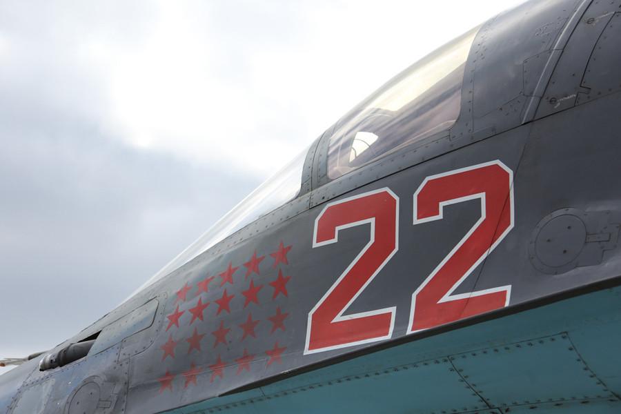 Су-34 б.н. 22 красный после возвращения из Сирии(с)МО