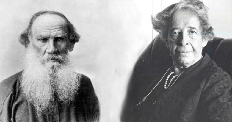 Лев Толстой и Ханна Арендт. В коллаже использованы фото wikipedia.org