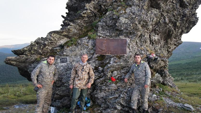 Николай Скворцов с друзьями Андрей, Дмитрий на перевале Дятлова-ж6