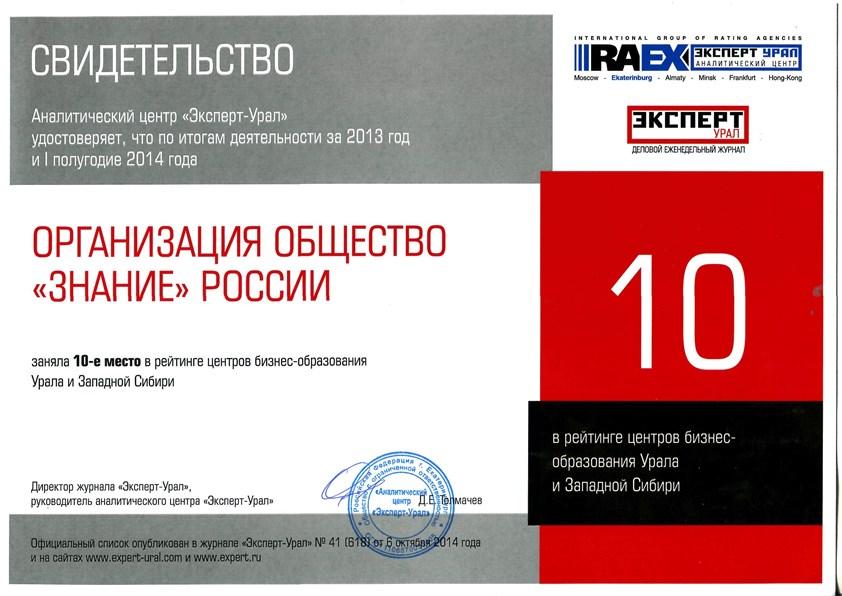 Свидетельство Эксперт-Урал для жж