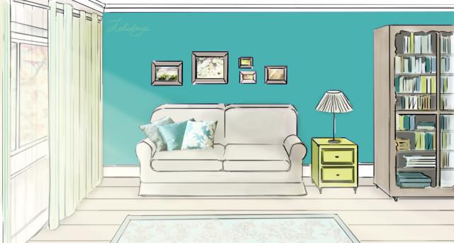 Интерьер комнаты рисовать