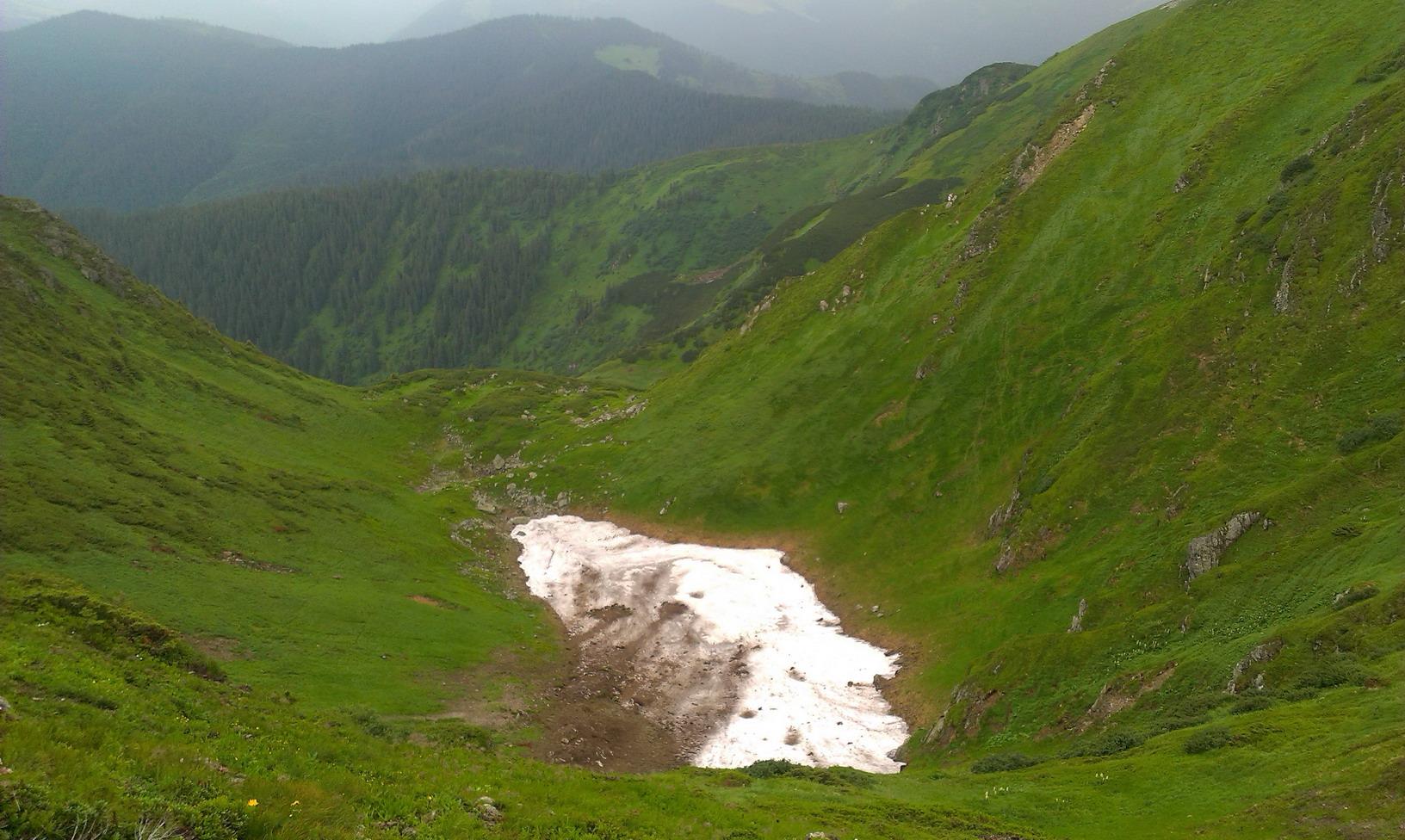 Внизу - сніжники. 29 червня!!! Видно, що крім снігових лавин сходили і селеві потоки, які нанесли поверх снігу землю з каміннями