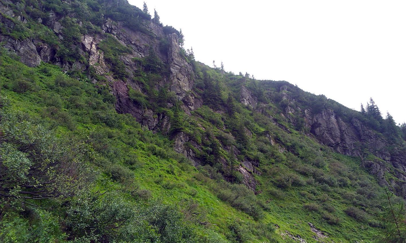 Зліва - величні скелі, десь над ними - г.Щербан