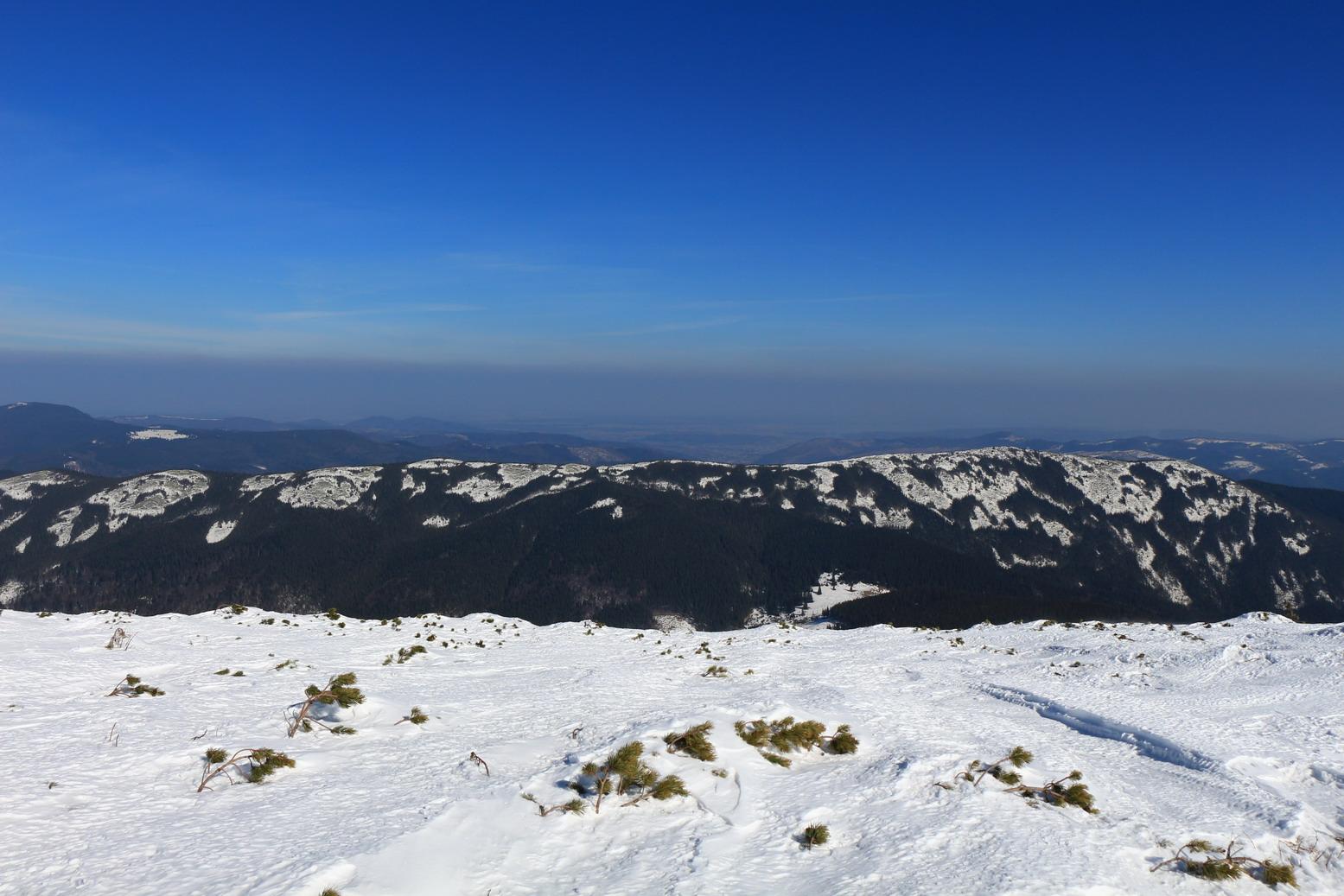 Хребет Явірник. Південні схили вже позбуваються снігу