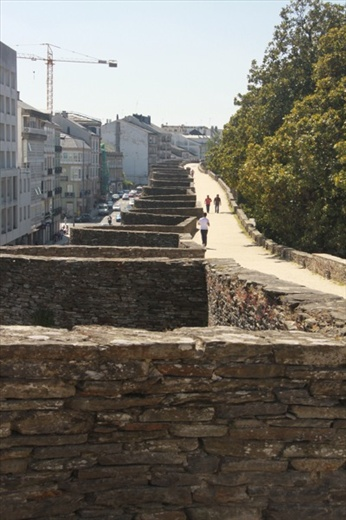Atop the Roman wall, Lugo