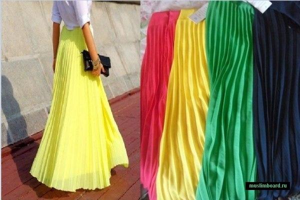 Яркие юбки в пол по одной каждого